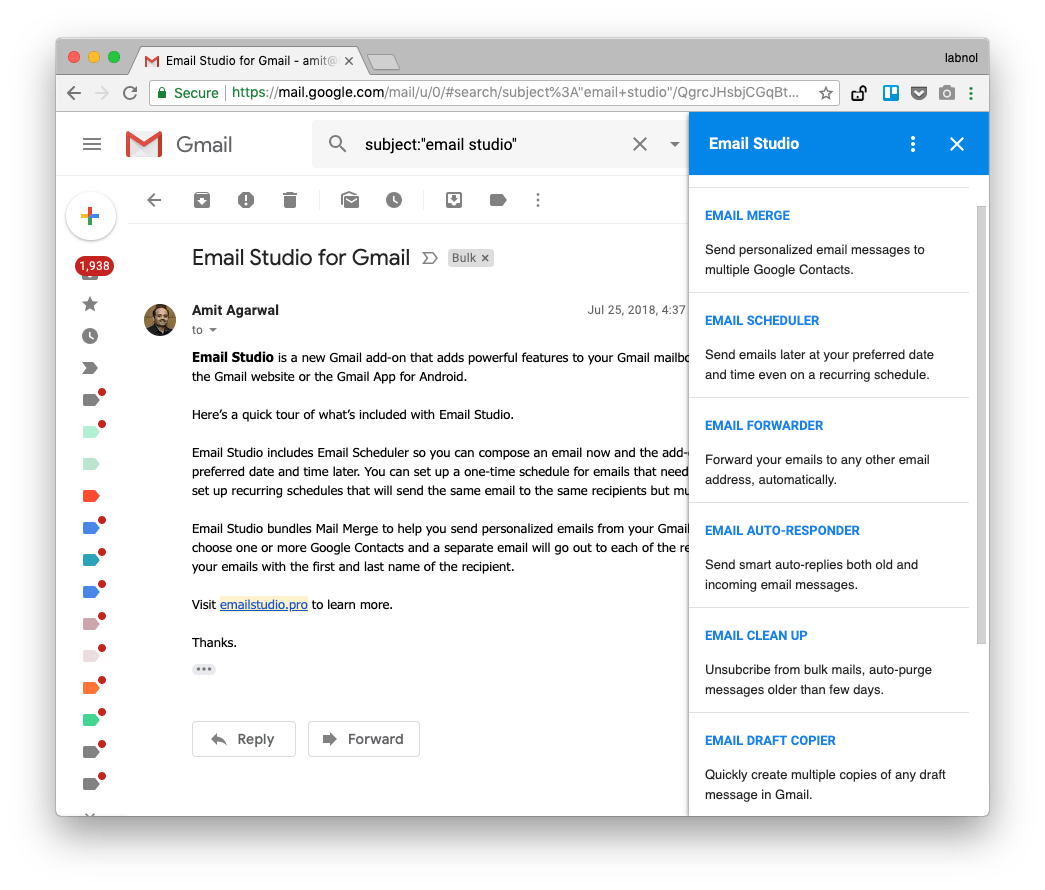 Email Studio adds Mail Merge and Email Scheduler Directly