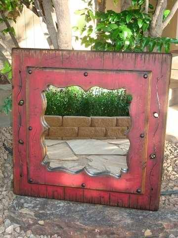 Rustic Red Mirror Wood Home Decor Western Mirror Rustic Mirrors