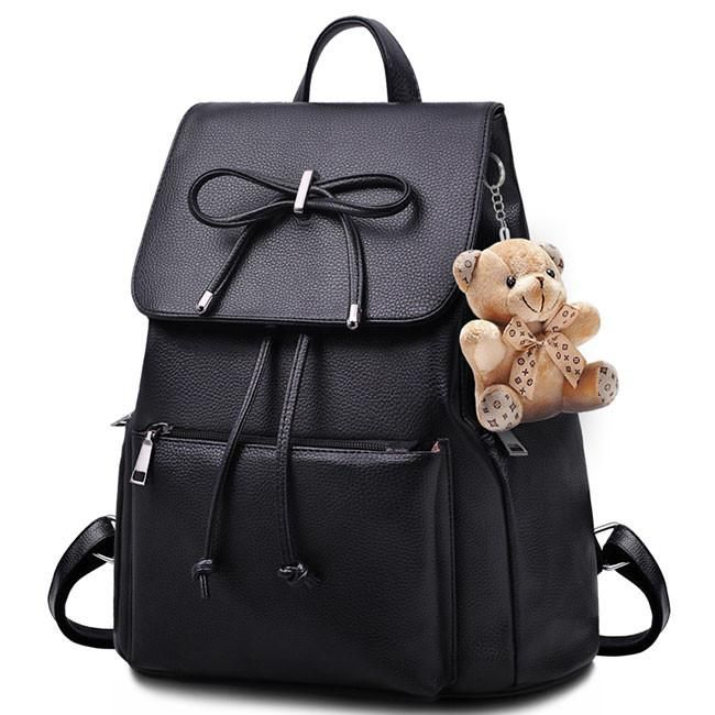 1132416bb55f Unique Flap Draw String Large Capacity Bow Bear Doll Black PU School Bag  Backpack  Backpack  Bag  school  college  bagbt  student  bow  Bear