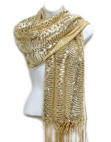 d213161e45230 $24.99 Gold Sequin Shawl Wrap Scarf Sparkly Wave Formal Party Wedding  Bridal | eBay