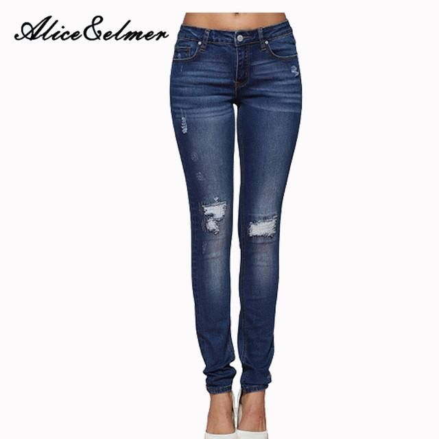 ab56efefb38563 Alice & Elmer Hole Ripped Jeans Women Jeans Woman Jeans For Girls Stretch  Mid Waist Skinny Jeans Female Pants