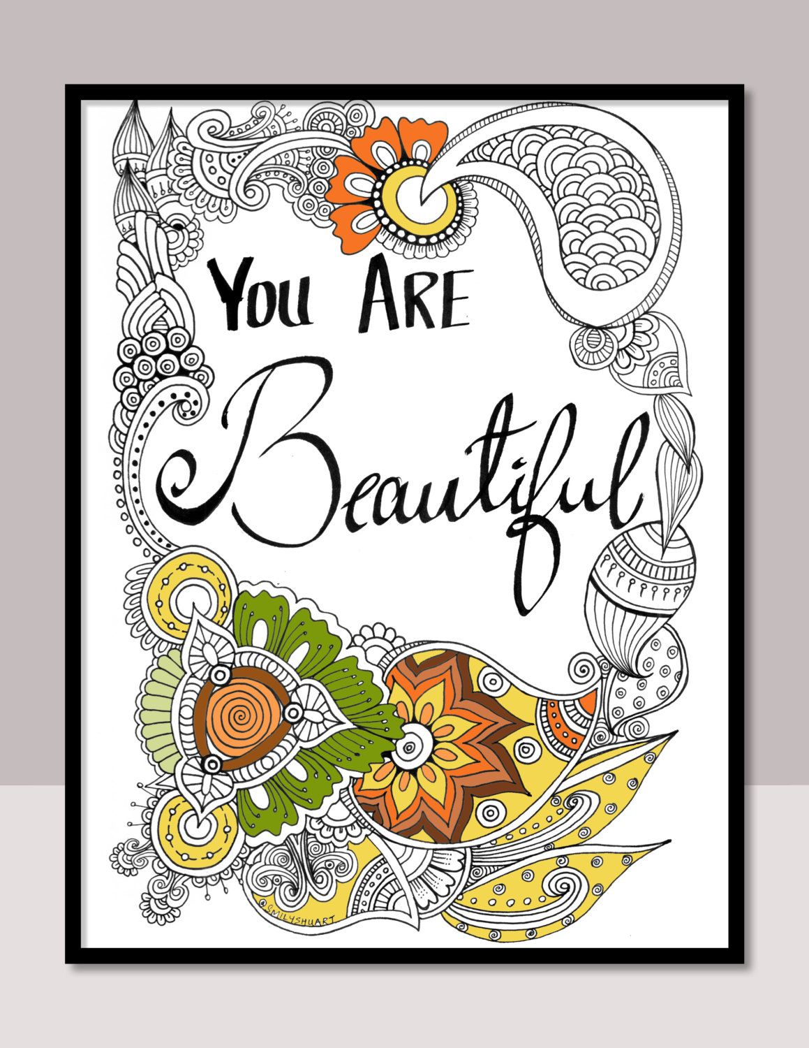 You Are Beautiful Instant PDF Download Printable Motivational Quotes Zentangle Colouring Cards