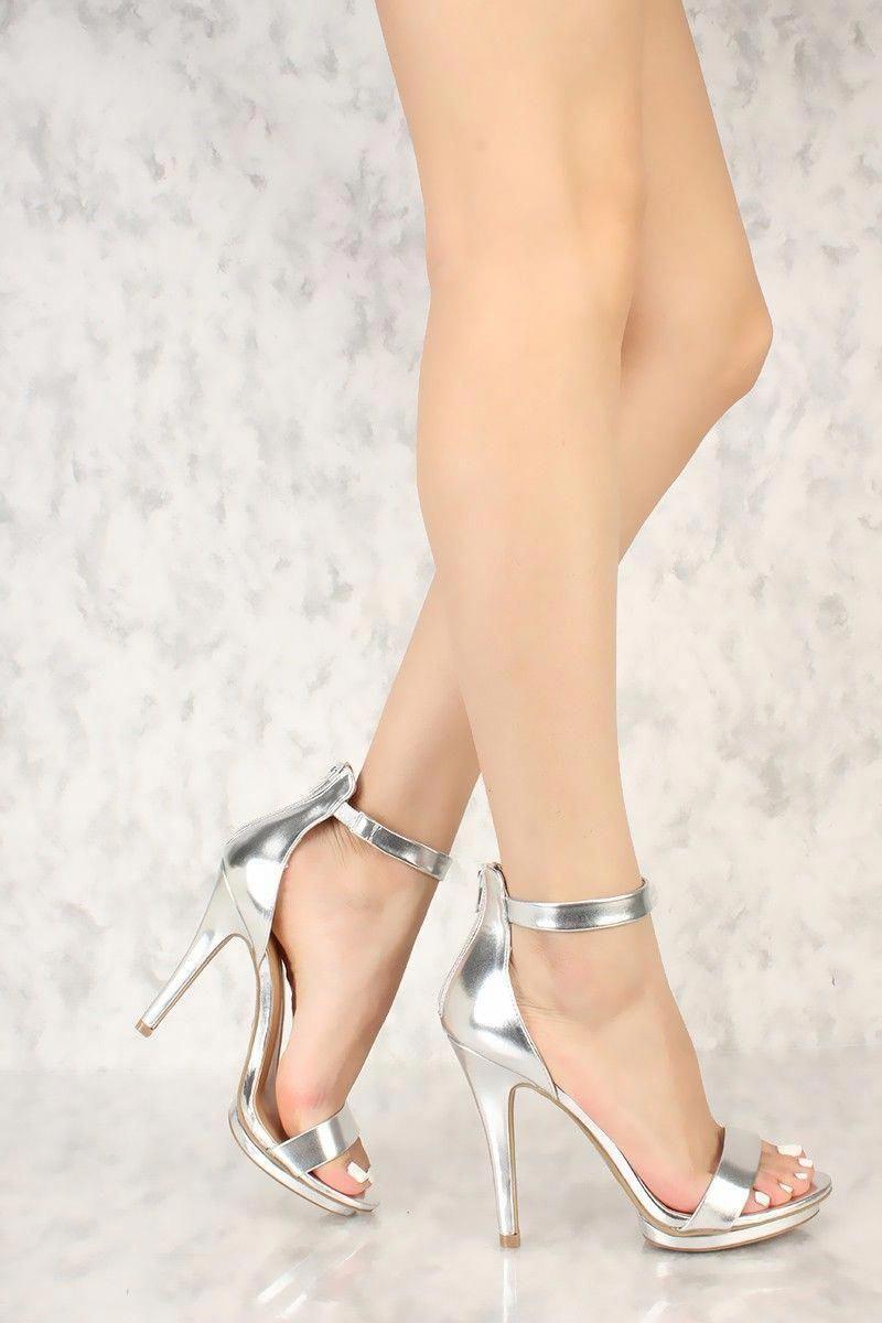 1a4f6b24d47 Silver Open Toe One Strap Single Sole High Heels Metallic Faux Leather   Promshoes