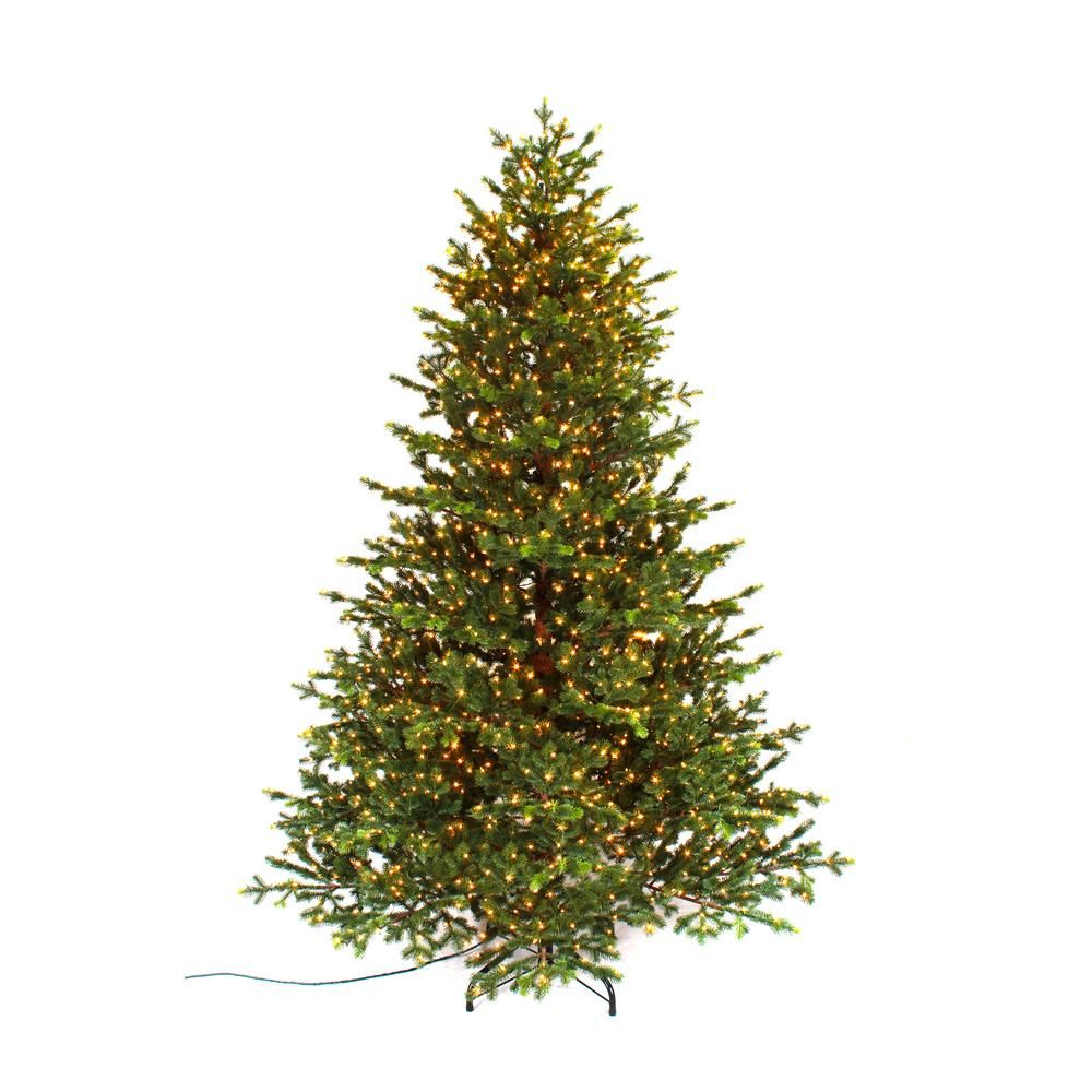 Home Accents Holiday 7 5 Ft Pre Lit Led Elegant Natural Fir Quick Set Artificial Chri Flocked Christmas Trees Artificial Christmas Tree Potted Christmas Trees