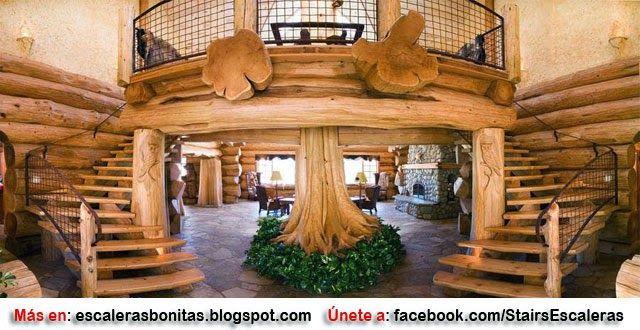 ESCALERAS RÚSTICAS manualidades y decoracion Pinterest - escaleras de madera rusticas