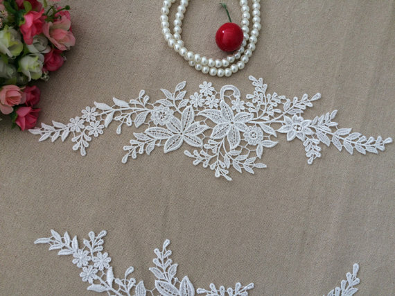 White lace appliques embroidered flowers patches for wedding