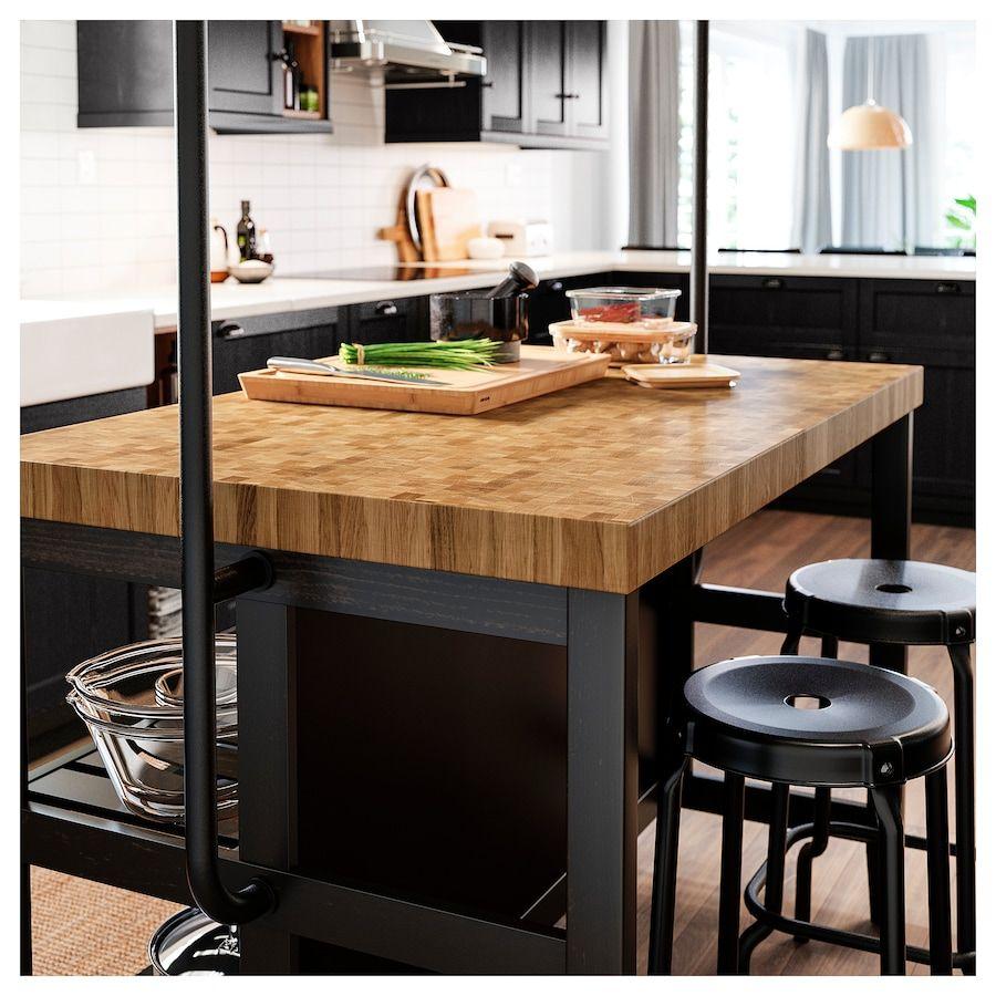 Vadholma Kitchen Island Black Oak Shop Ikea Ikea In 2020 Freestanding Kitchen Island Ikea Kitchen Island Kitchen Design