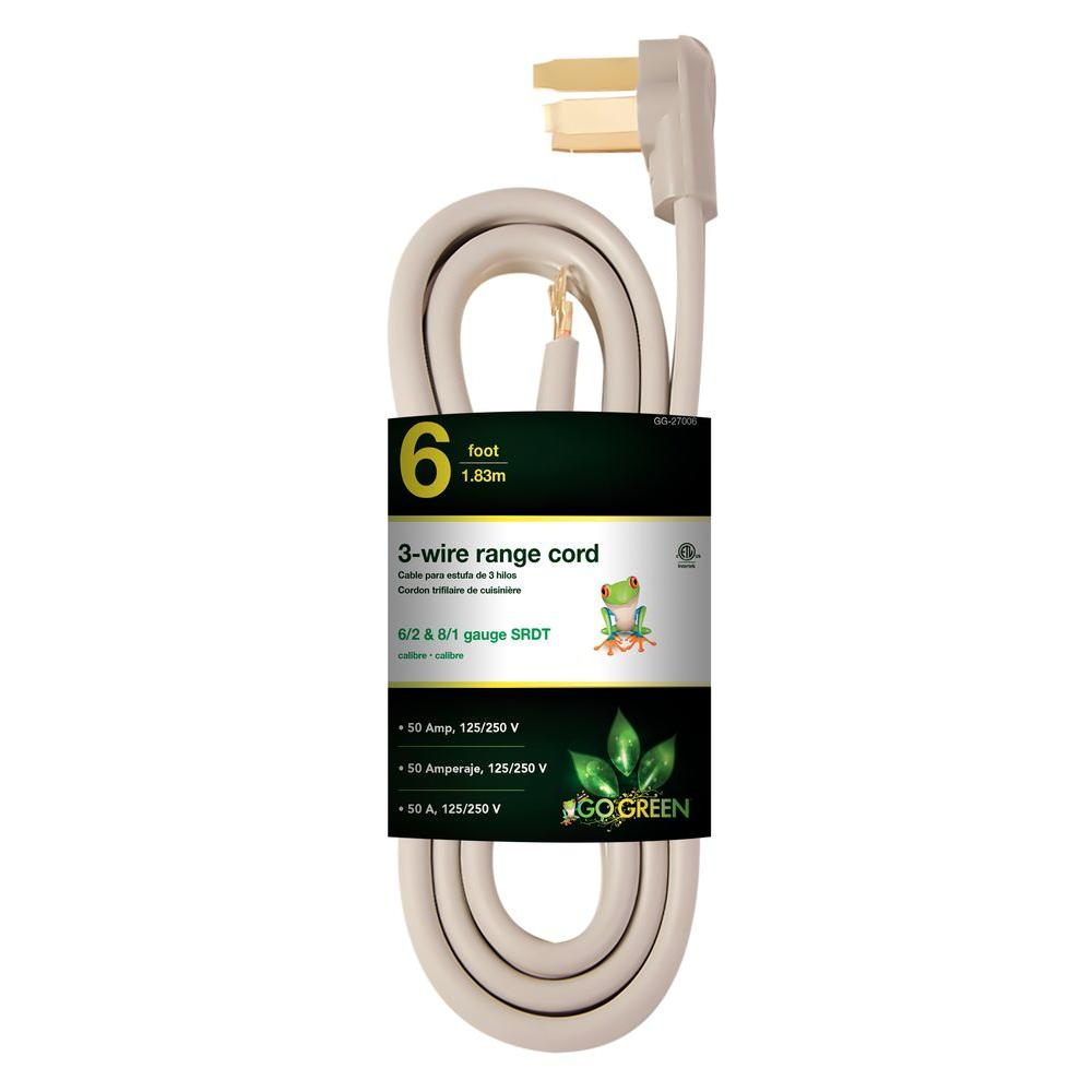 Power By Go Green 6 Ft 6 2 And 8 1 3 Wire Range Cord Gg 27006 Outdoor Extension Cord Green Name Appliance Sale