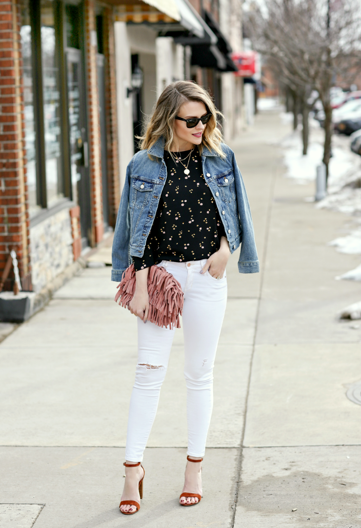 My Go To Casual Date Night Look Penny Pincher Fashion Jean Jacket Outfits Spring White Jeans Spring Casual Date Night Outfit [ 1080 x 740 Pixel ]
