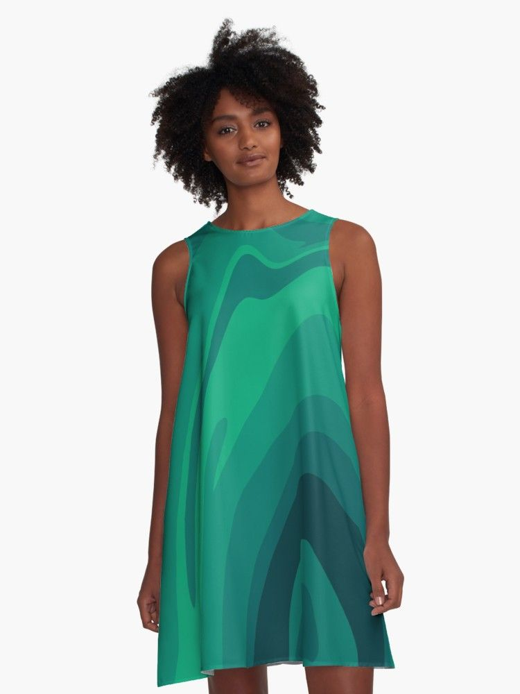 'Forest Green Nature Abstract' A-Line Dress by roseglasses