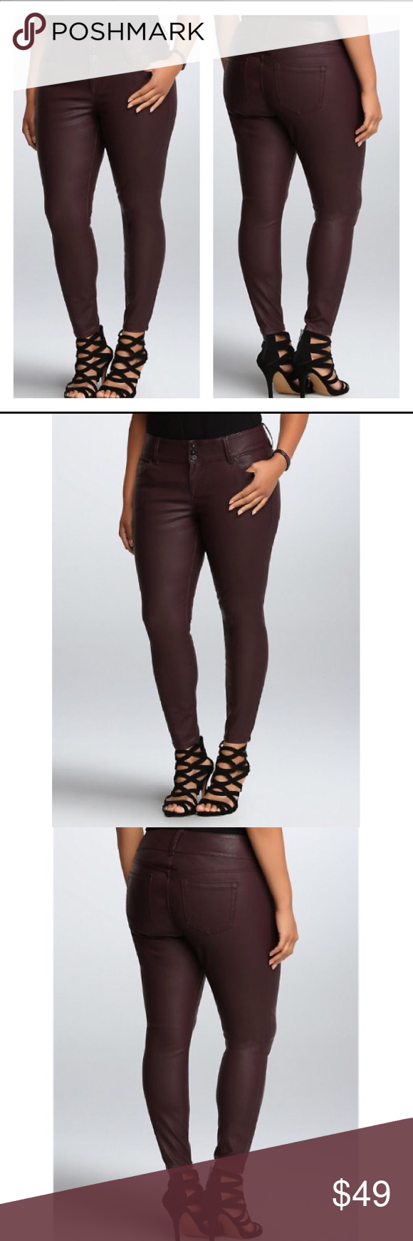 de53075c1e6ff Torrid Premium maroon faux leather pants Super sexy faux leather with the  feel and stretch of a jegging...we're sold! Smooth oxblood faux leather  gets a ...