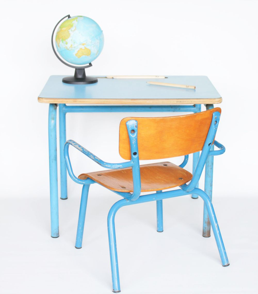 Petit ensemble de maternelle vintage fauteuil et bureau Patina