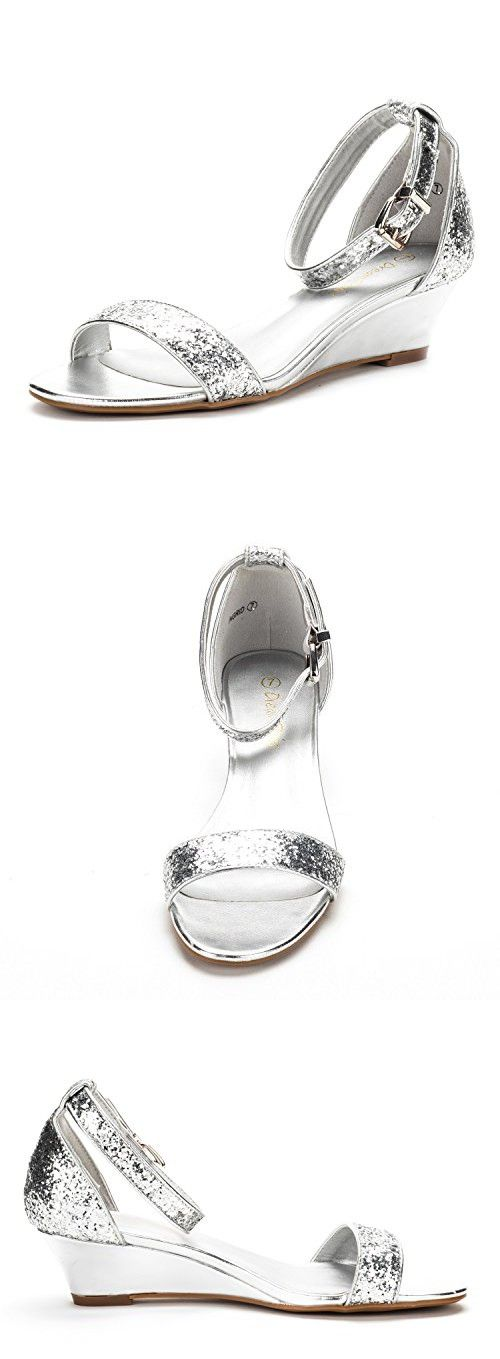 e4cfc6e36631a DREAM PAIRS Women s Ingrid Silver Glitter Ankle Strap Low Wedge Sandals - 5  ...