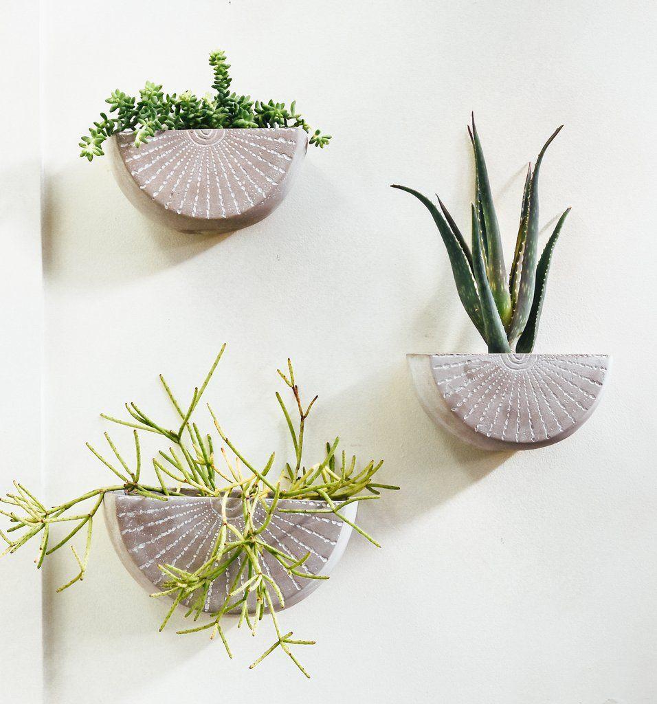 Etched Concrete Wall Planter Pistils Nursery Wall Planter Wall Flower Vases Ceramic Wall Planters