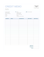 Credit Memo Blue Background Design  Make To Invoice