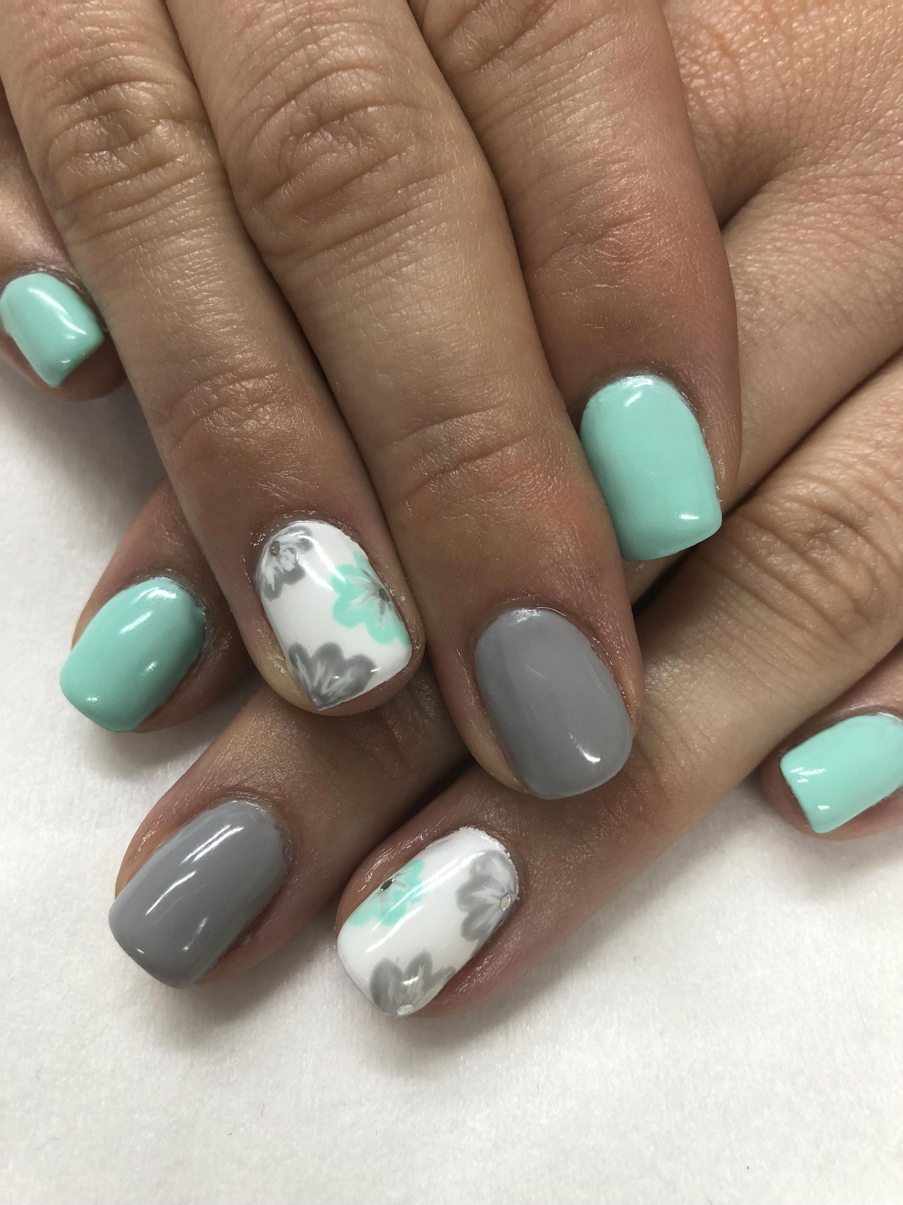 Mint Grey Hand Painted Flower Spring Gel Nails