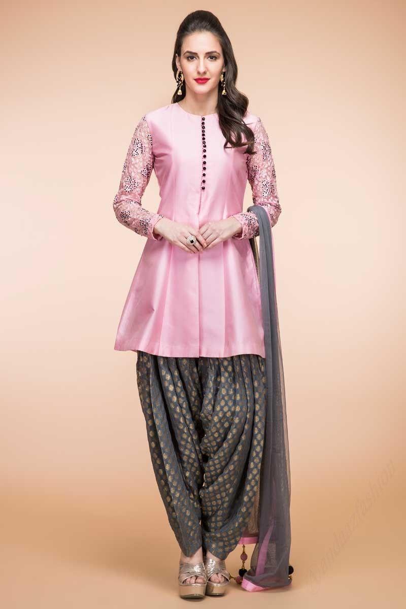 Pink patiala taffeta indian prom long suits women clothing