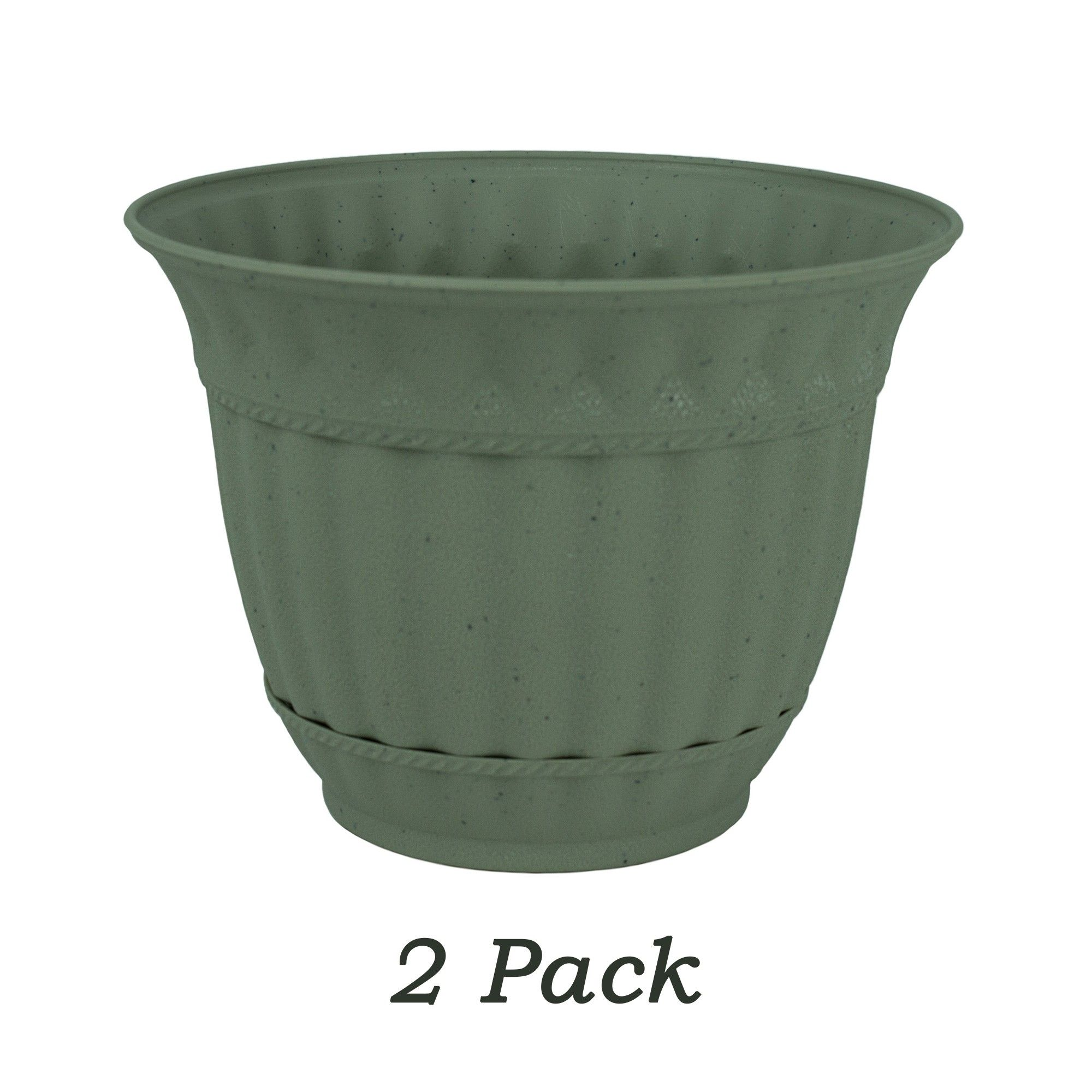 Misco 2 Pack 6 Inch Gray Stone Plastic Attached Saucer Milano Flower Pot Or Garden Planter Garden Planters Plastic Flower Pots Flower Pots