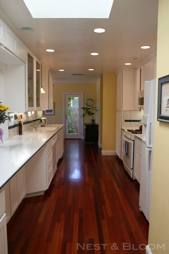 Kitchen Makeover White Cabinetry Brazilian Cherry Floor