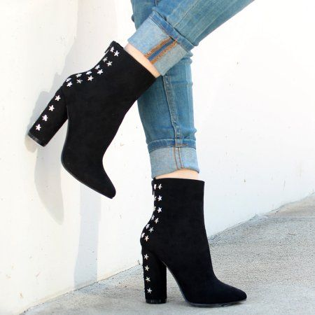 8552edd872e5 Mark and Maddux Elsie05 Studded Women s Mid-calf High Heel booties in  Black
