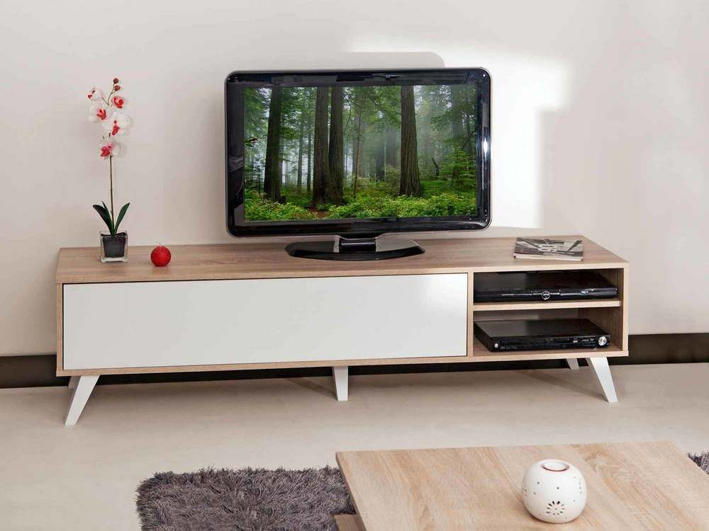Meuble tv bas en bois avec 1 abattant et 2 niches prism for Meuble bas salon but