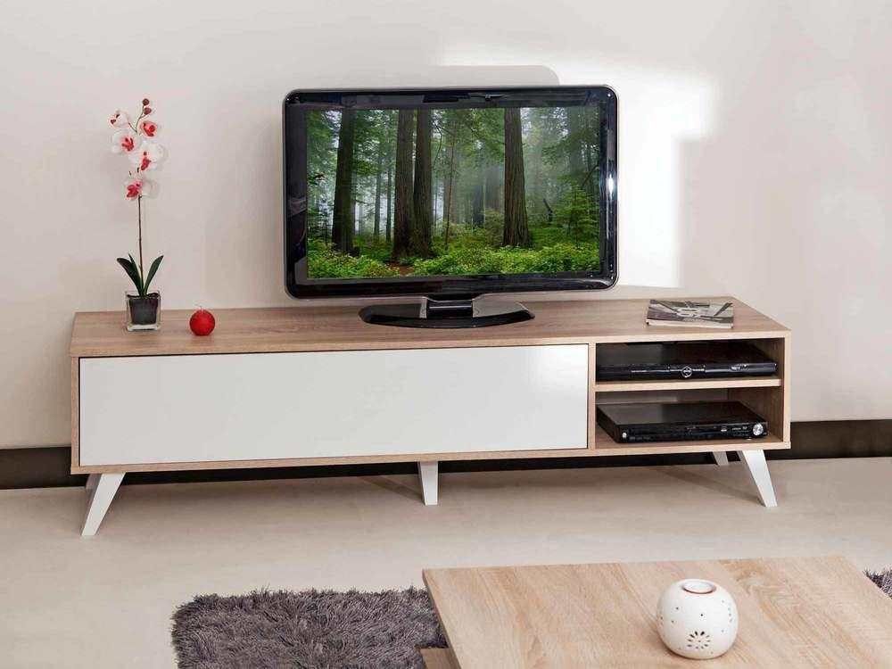 Meuble TV bas en bois avec 1 abattant et 2 niches PRISM Furniture