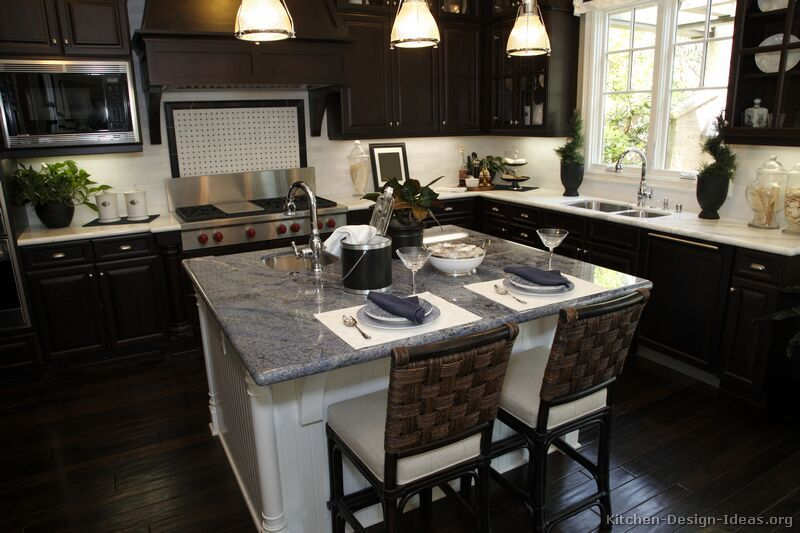 Traditional Dark Wood  Black  Espresso Kitchen Cabinets #tt35 Beauteous Design Ideas For Kitchen Cabinets Review