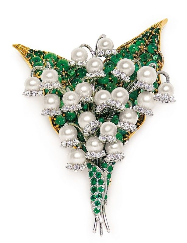 Lilly of the Valley is one of my favorite jewelry flowers. This one was designed by Verdura of all people! You'd never guess what other more subdued designs are his- see more http://www.jewelrynerd.org/blog.html