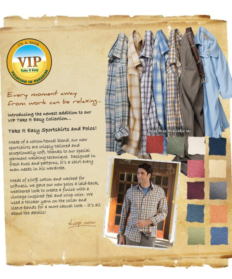 Brand new VIP Take It Easy Sportshirts and Polos.