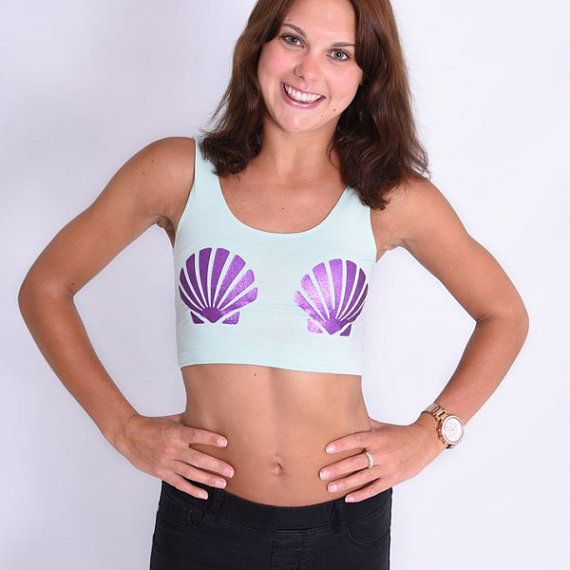 Shell Mermaid Crop top  Mint Green Crop top Glitter Purple Print  UK SIZE CHART XS - 6 S - 8 M - 10/12 L - 14  US SIZE CHART XS - 2 S - 4 M - 6 L - 8-10  American Apparel Top  *Fitted*
