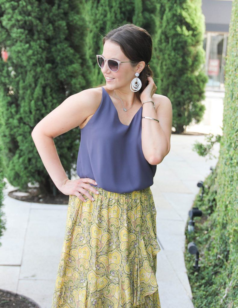 a4696b77bd1e35 Summer Work Outfit   White Statement Earrings   Yellow Skirt   Lady in  Violet   Houston Fashion Blogger
