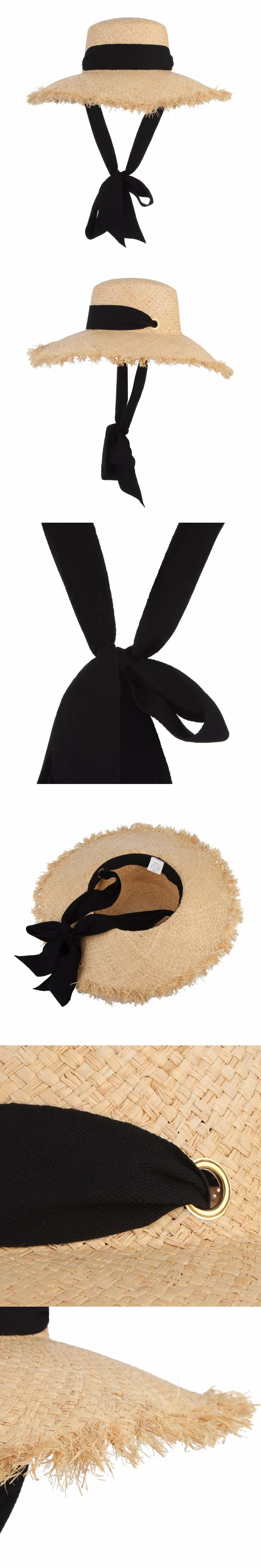 Handmade Weave Raffia Sun Hats For Women Black Ribbon Lace Up Large Brim  Straw Hat Outdoor 7fb4464fc1ac