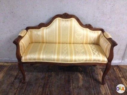 Sitzbank im Barockstil - goldig/beige