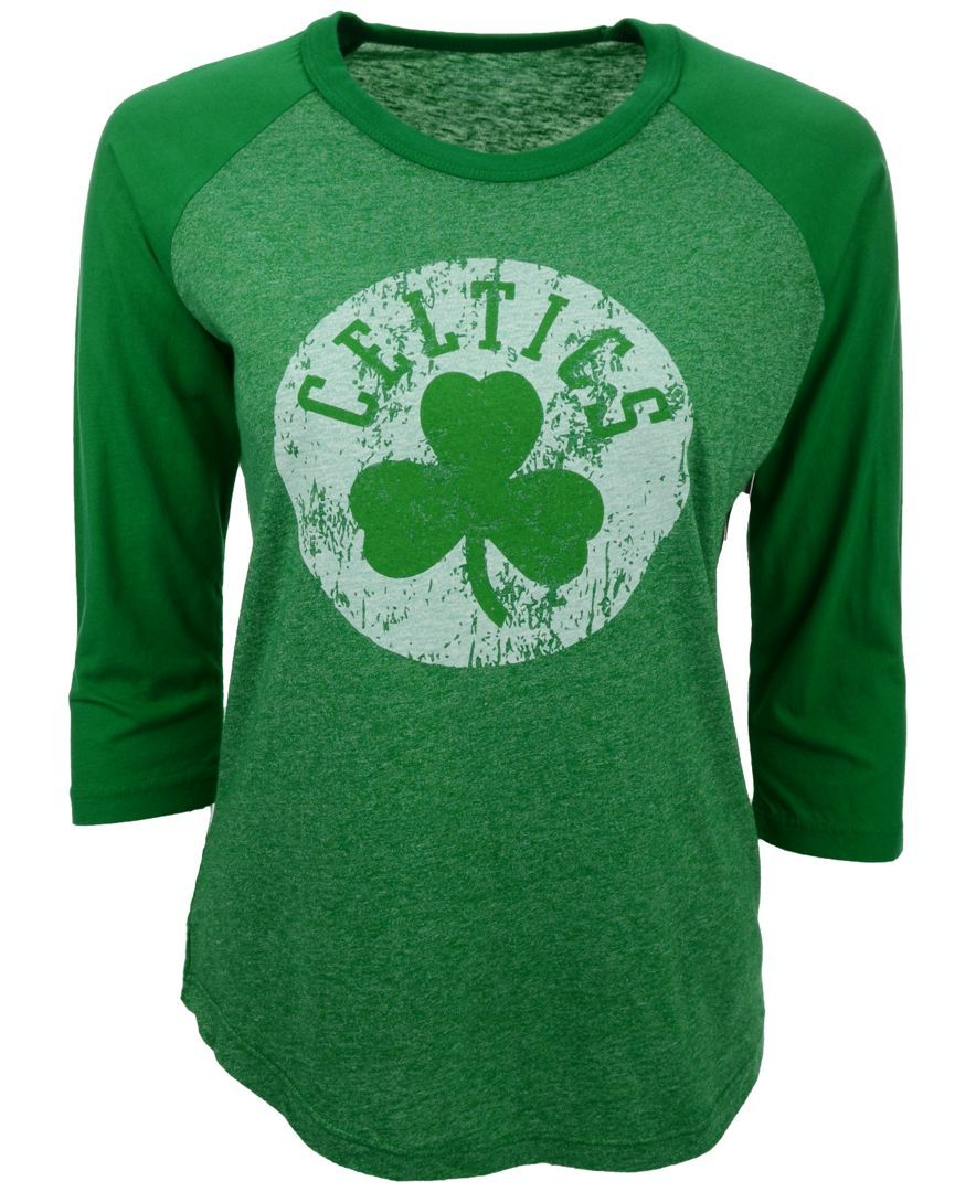 fd8185b245e1 Majestic Women s Three-Quarter-Sleeve Boston Celtics Raglan T-Shirt ...
