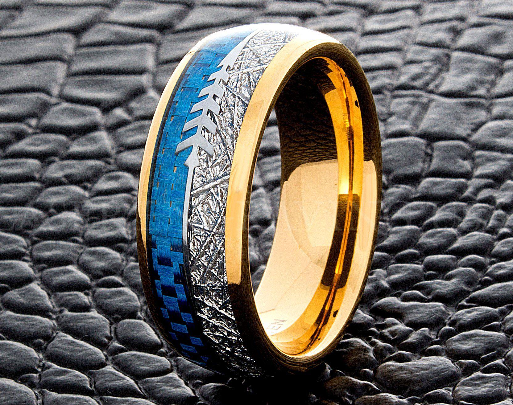 Tungsten Wedding Ring Blue Carbon Fiber Meteorite Arrow