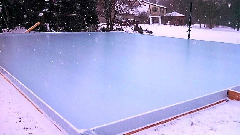Flooded SnapSports Home Basketball Court to make Ice