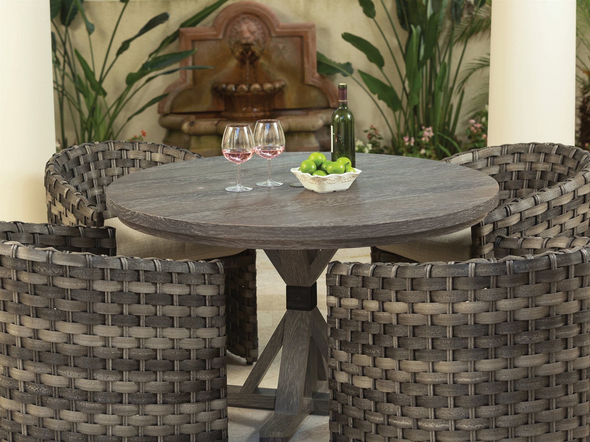 Ebel Lago Aluminum 48 Wide Round Dining Table With Umbrella Hole Ebl894 Wicker Dining Set Dining Table Patio Furnishings [ jpg ]