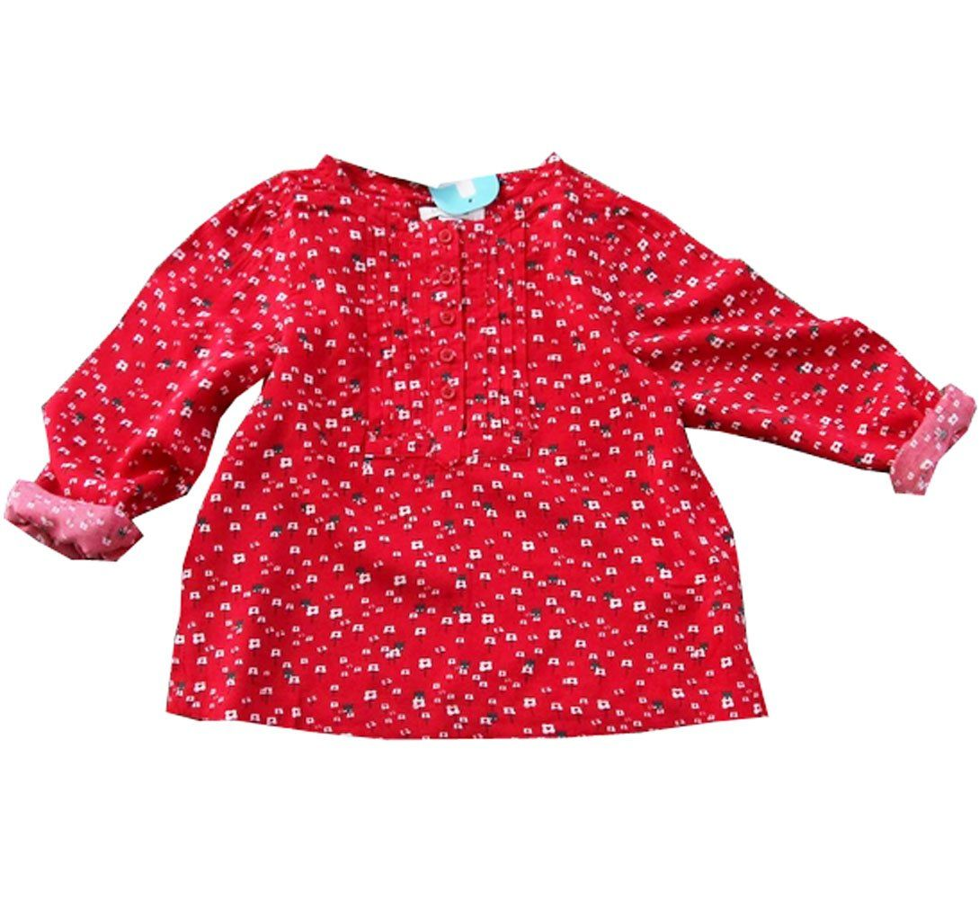 Amazon girls red floral long sleeve t shirts kidus top blouses