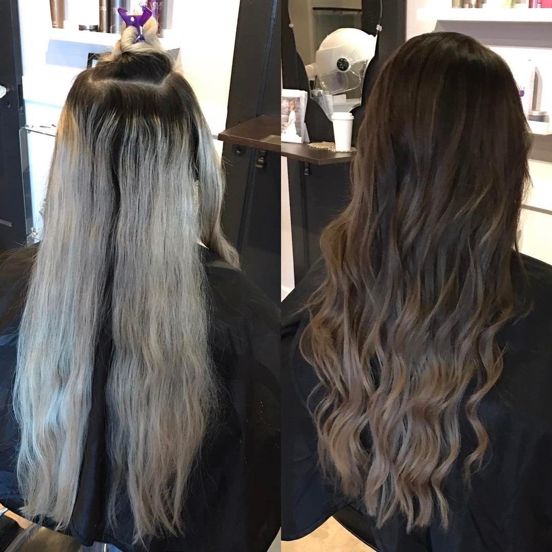 Icy Blonde To Ash Brown Balayage Transformation Brown Hair