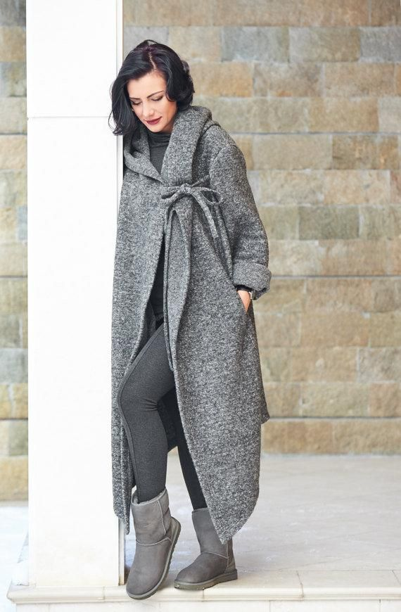 Asymmetric Wool Hooded Cardigan, Cozy Oversized Long Grey Coat, Plus Size Elegant Cardigan, Oversized Hoodie, Maxi Cardigan, Elegant Hoodie