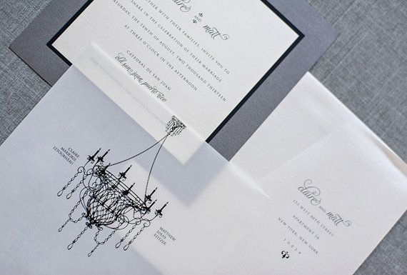 Vintage Chandelier Wedding Invitation Graphite Gray by LamaWorks