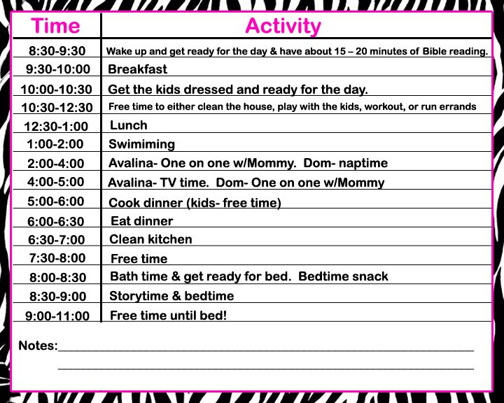 Daily Schedule From a sample schedule from    csahm home - sample schedules