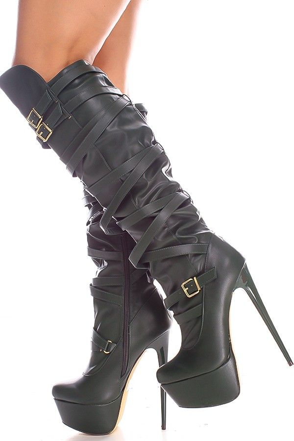 OLIVE FAUX LEATHER MULTI STRAP DOUBLE BUCKLE KNEE HIGH PLATFORM BOOTIES,Women's  Boots-Sexy