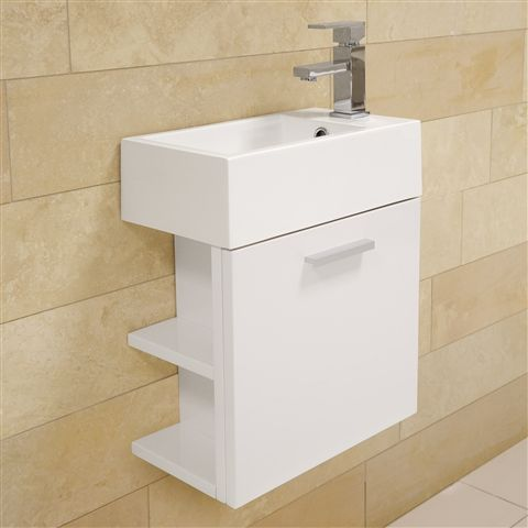 This sleek white Kemina Wall Hung Vanity Unit with Basin has a premium  lacquered finish for. This sleek white Kemina Wall Hung Vanity Unit with Basin has a