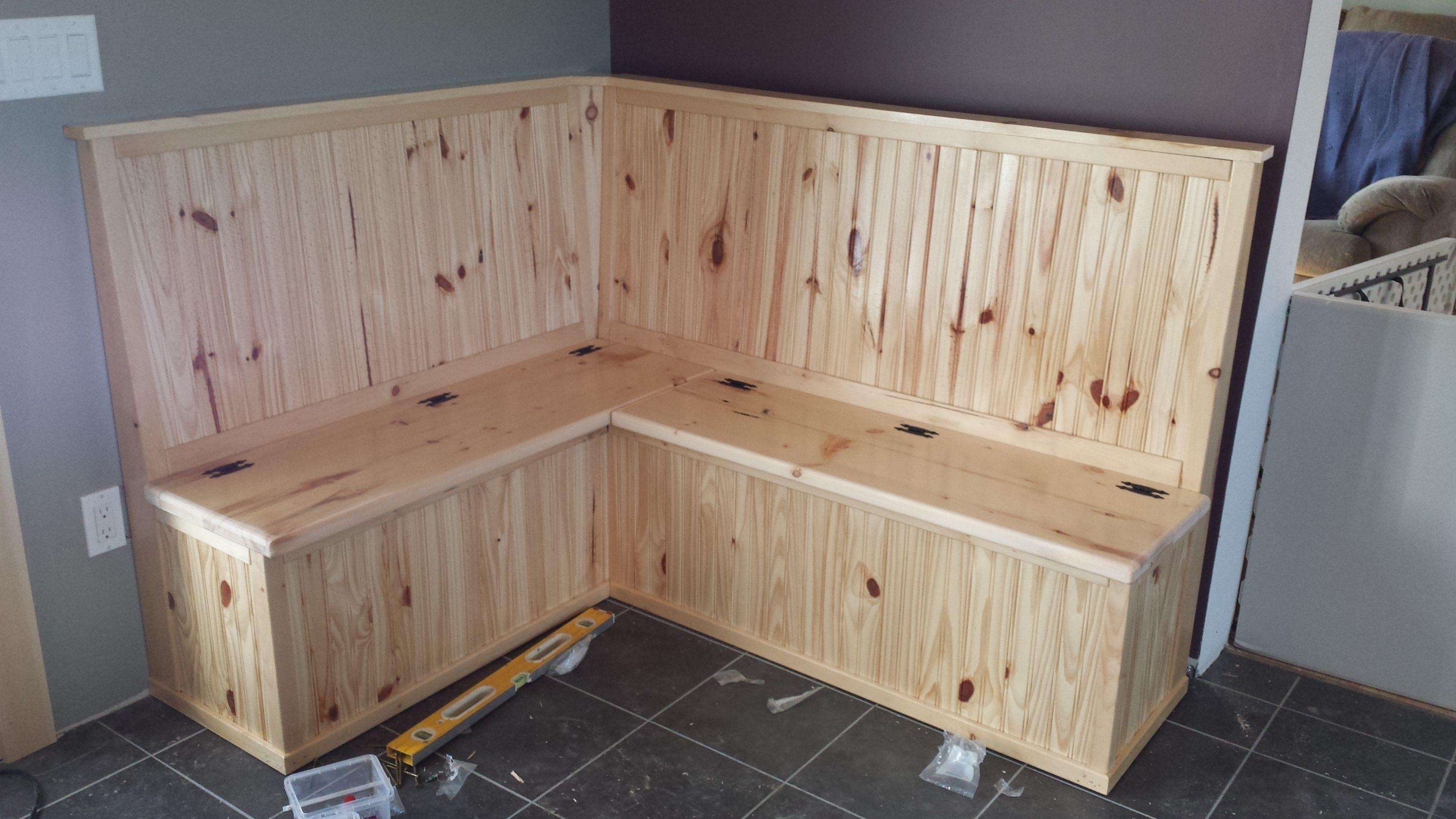 diy open seat bench, breakfast nook, knotty pine, mudroom table