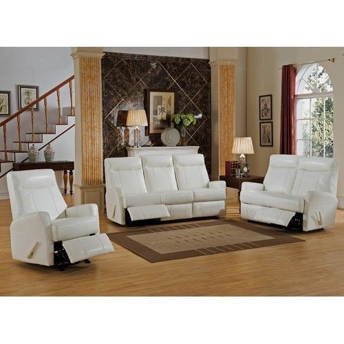 Best She Shed Woman Cave Living Room Recliner Set White Leather 400 x 300
