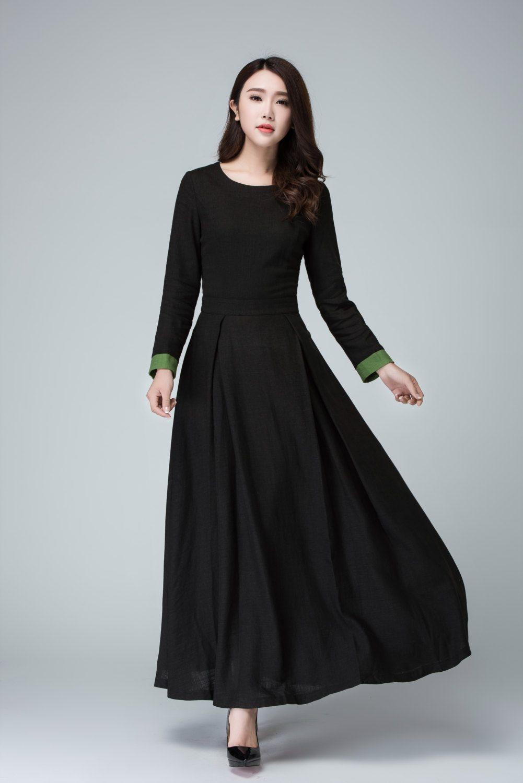 Black dress long sleeve dress prom dress linen dress maxi