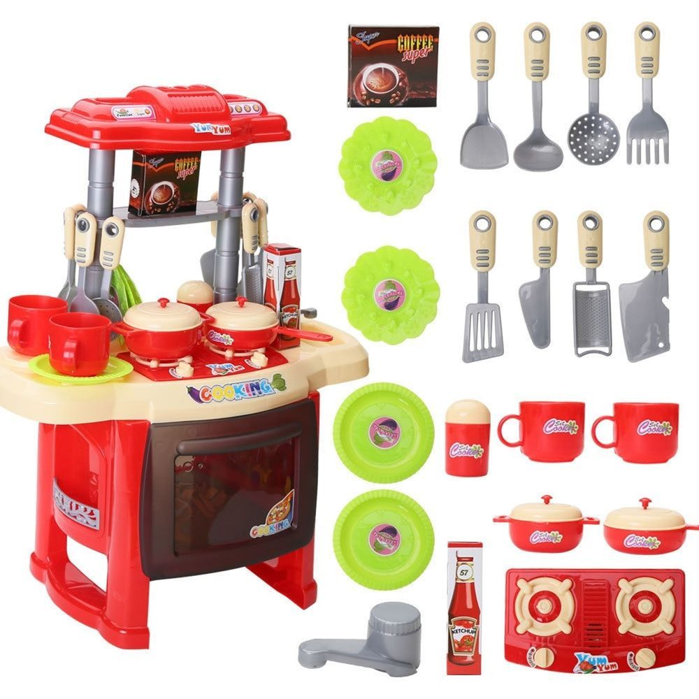 Pretend To Play Baby Small Kitchen Plastic Children Toy Cooking Set Red Pretendtochina