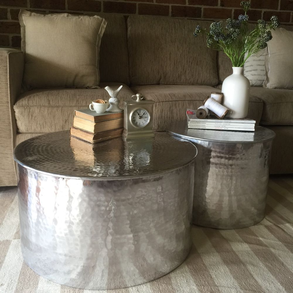 Set Of 2 Metal Round Side Tables/Aluminium Coffee Tables Set/Drum/Freedom