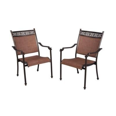 Hampton Bay Niles Park Sling Patio Dining Chairs 2 Pack